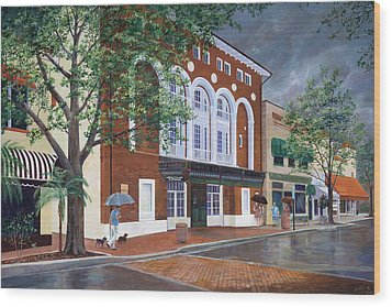 Wood Print featuring the painting Cocoa Village Playhouse by AnnaJo Vahle