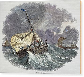 Cod Fishing In New England Wood Print by Granger