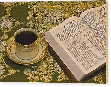 Coffee And Bible Wood Print by Trudy Wilkerson