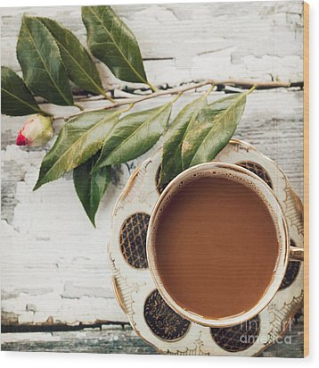 Coffee And Camellia Wood Print by Kim Fearheiley