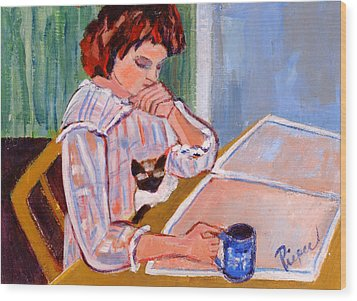 Coffee And Cat Wood Print by Elzbieta Zemaitis