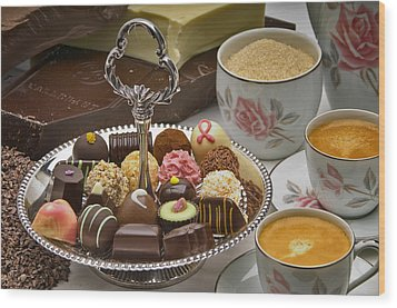 Coffee And Chocolates Wood Print by Frank Lee