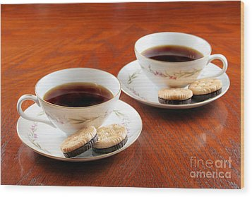 Coffee And Cookies Wood Print by Darren Fisher