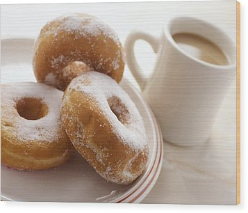Coffee And Doughnuts Wood Print by Erika Craddock