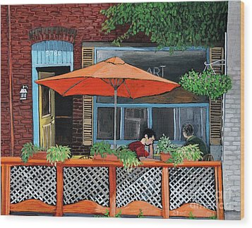 Coffee At Nu Art Cafe Verdun Wood Print by Reb Frost