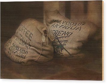 Coffee Beans In Burlap Bags Wood Print by Susan Candelario