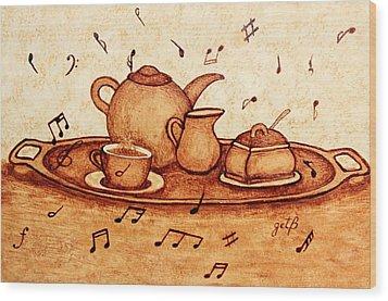 Coffee Break 2 Coffee Painting Wood Print by Georgeta  Blanaru