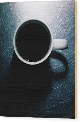 Coffee Cup On Stainless Steel. Wood Print by Ballyscanlon