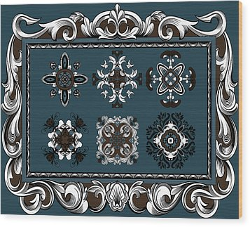 Coffee Flowers Ornate Medallions 6 Piece Collage Mediterranean Wood Print by Angelina Vick