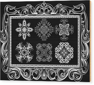 Coffee Flowers Ornate Medallions Bw 6 Piece Collage Framed  Wood Print by Angelina Vick