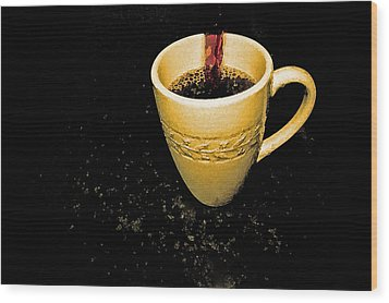Coffee In The Big Yellow Cup Wood Print