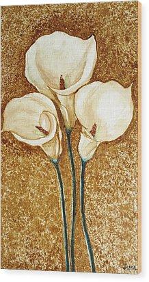 Coffee Painting - Flowers Wood Print by Rejeena Niaz
