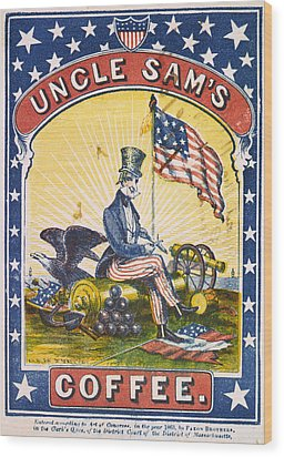 Coffee, Uncle Sams Coffee, Illustrated Wood Print by Everett