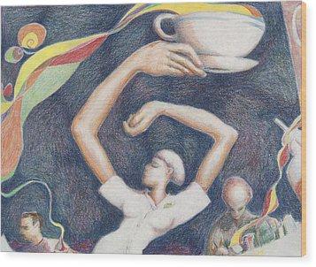 Coffee Wood Print by Vincent Randlett III