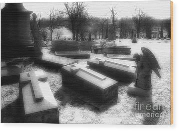 Coffins And Angel Wood Print by Jeff Holbrook