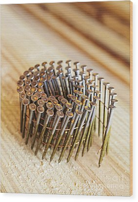 Coiled Framing Nails Wood Print by Skip Nall