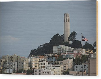 Wood Print featuring the photograph Coit Tower by Eric Tressler