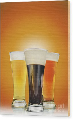 Cold Alcohol Beer Drinks On Gold Wood Print by Angela Waye