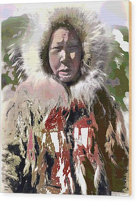 Wood Print featuring the mixed media Cold Man by Charles Shoup