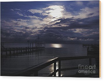 Cold Night On The Water Wood Print by Clayton Bruster