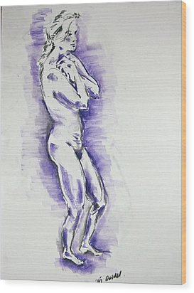Wood Print featuring the pastel Cold Woman by Brian Sereda