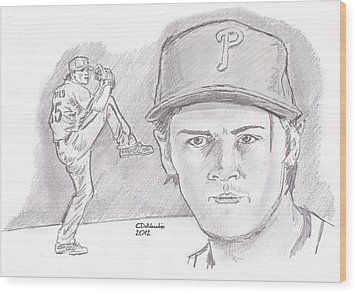 Wood Print featuring the drawing Cole Hamels by Chris  DelVecchio