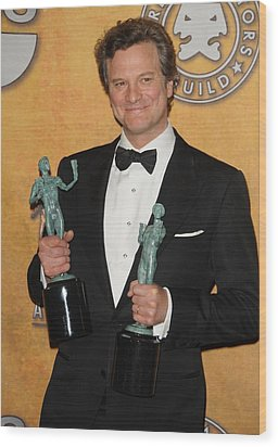 Colin Firth In The Press Room For 17th Wood Print by Everett