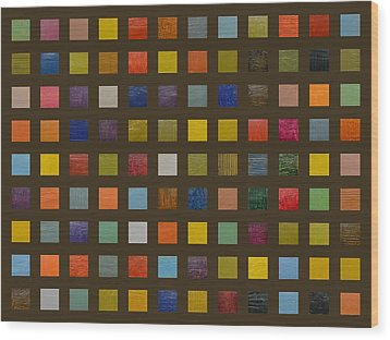 Collage Color Study Lll Wood Print by Michelle Calkins