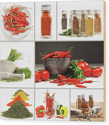 Collage Of Different Colorful Spices For Seasoning Wood Print by Sandra Cunningham