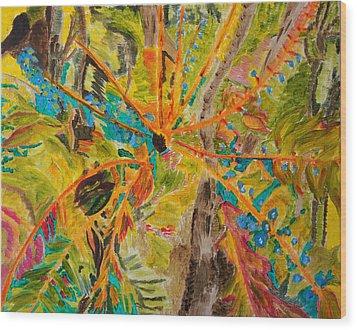 Collage Of Leaves Wood Print by Meryl Goudey