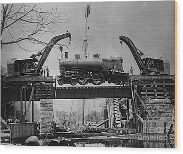 Collapsed Bridge And Train Recovery Wood Print by M E Warren and Photo Researchers
