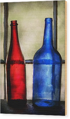 Collector - Bottles - Two Empty Wine Bottles  Wood Print by Mike Savad