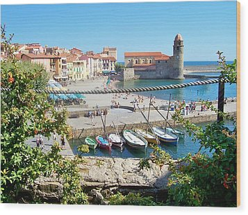 Collioure From Knights Of Templar Castle Wood Print by Marilyn Dunlap