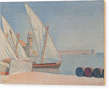 Collioure Les Balancelles Wood Print by Paul Signac