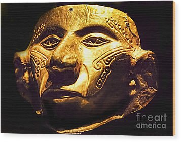 Colombian Gold Mask  Wood Print by Alexandra Jordankova