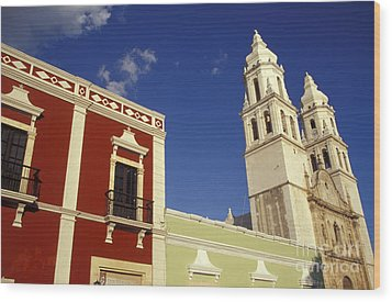 Wood Print featuring the photograph Colonial Colors Campeche Mexico by John  Mitchell