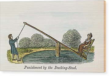 Colonial Ducking Stool Wood Print by Granger