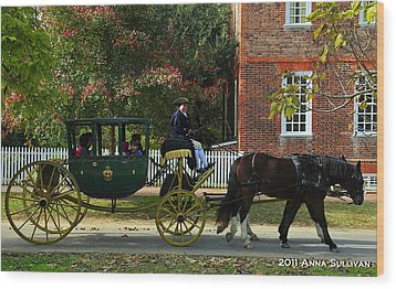 Colonial Williamsburg Carriage Wood Print by Anna Sullivan