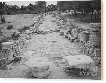 Colonnaded Street In The Ancient Site Of Salamis Famagusta Turkish Republic Of Northern Cyprus Trnc Wood Print by Joe Fox
