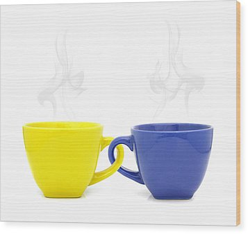 Color Cup With Hot Drink On White Background Wood Print by Natthawut Punyosaeng