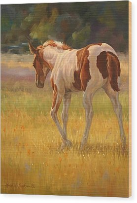 Color Foal Wood Print by Kathleen  Hill
