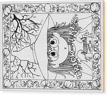 Color Me Card - Halloween Wood Print