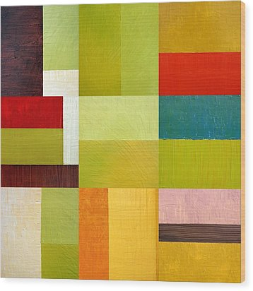 Color Study Abstract 9.0 Wood Print by Michelle Calkins