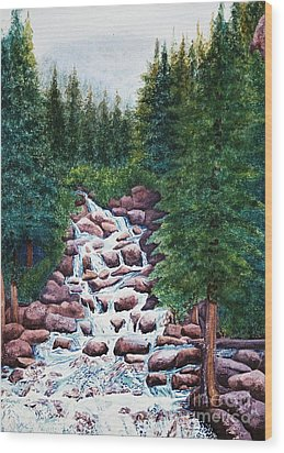 Colorado Falls Wood Print by Vikki Wicks