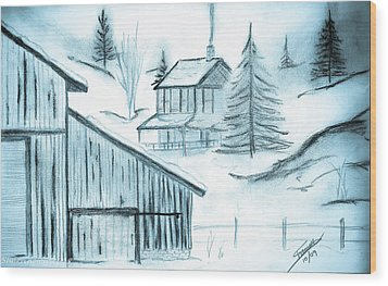 Wood Print featuring the drawing Colorado Farm by Shannon Harrington