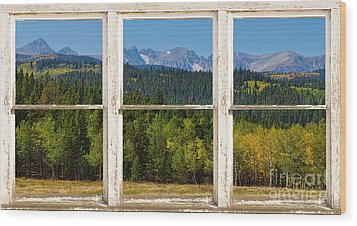 Colorado Indian Peaks Autumn Rustic Window View Wood Print by James BO  Insogna