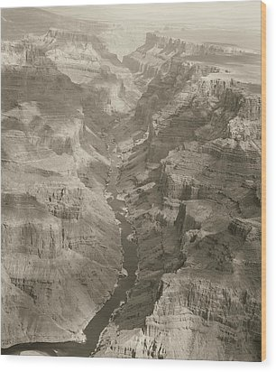 Colorado River And Grand Canyon In Monochrome Wood Print by M K  Miller