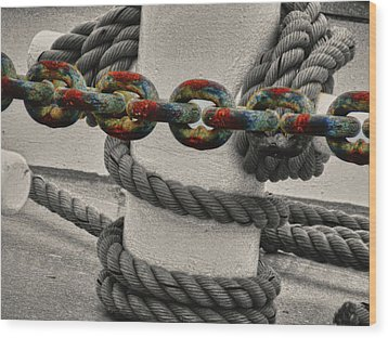 Wood Print featuring the photograph Colored Chain by Kelly Reber