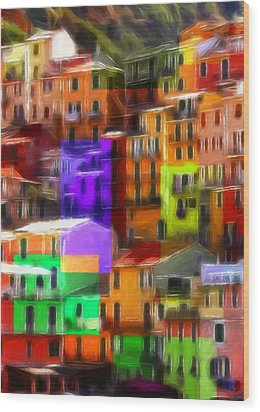 Colored Windows Wood Print by Steve K