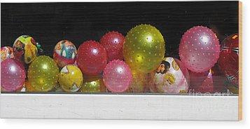 Colorful Balls In The Shop Window Wood Print by Ausra Huntington nee Paulauskaite